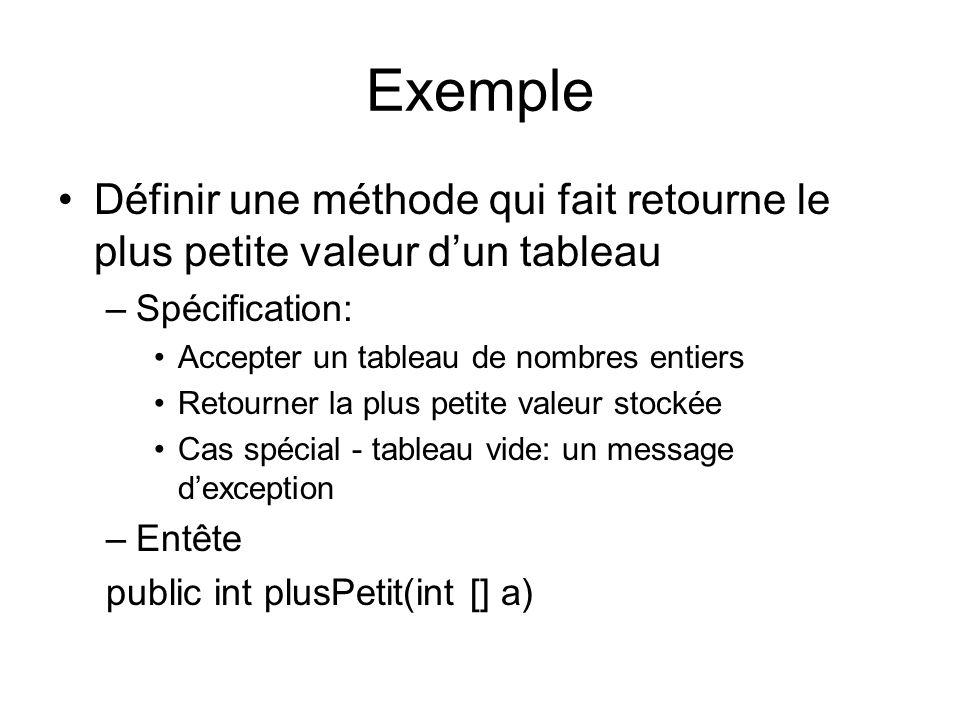 Exemple Définir une méthode qui fait retourne le plus petite valeur dun tableau –Spécification: Accepter un tableau de nombres entiers Retourner la plus petite valeur stockée Cas spécial - tableau vide: un message dexception –Entête public int plusPetit(int [] a)