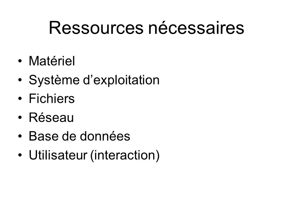Ressources nécessaires Matériel Système dexploitation Fichiers Réseau Base de données Utilisateur (interaction)