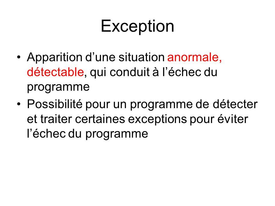 Exception Apparition dune situation anormale, détectable, qui conduit à léchec du programme Possibilité pour un programme de détecter et traiter certaines exceptions pour éviter léchec du programme