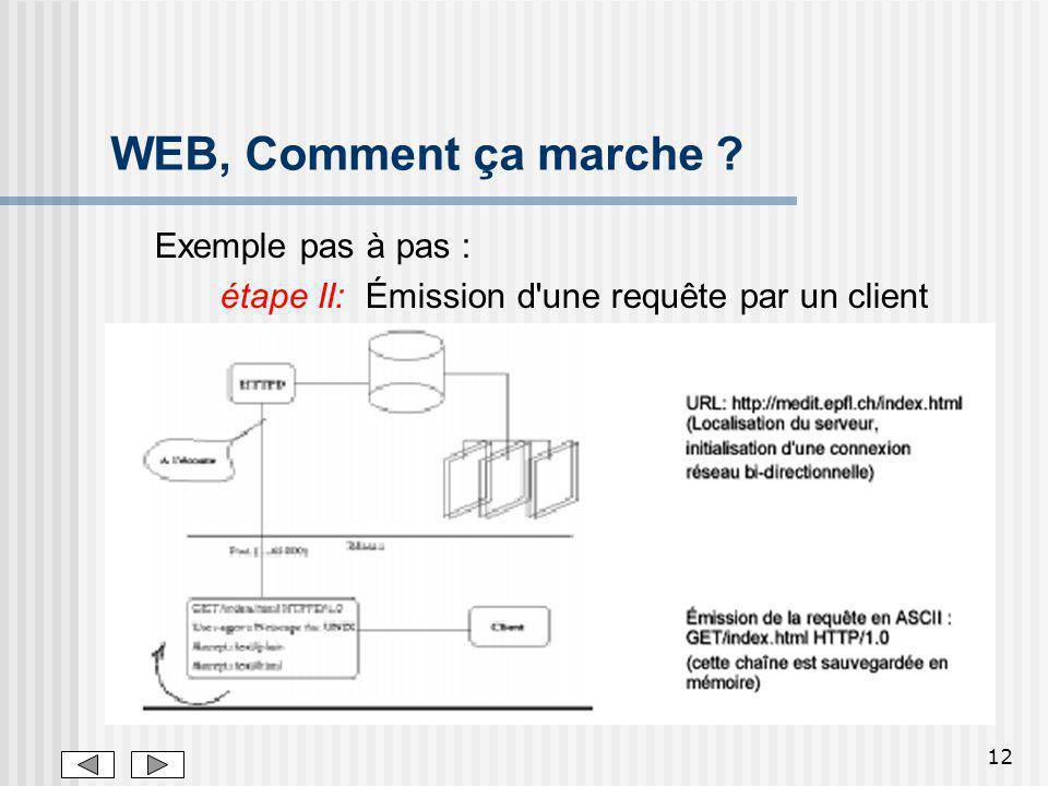 12 WEB, Comment ça marche ? Exemple pas à pas : étape II: Émission d'une requête par un client