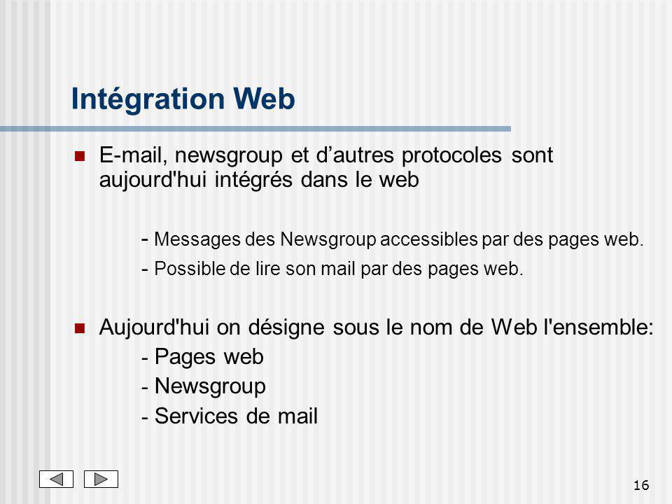 16 Intégration Web E-mail, newsgroup et dautres protocoles sont aujourd'hui intégrés dans le web - Messages des Newsgroup accessibles par des pages we