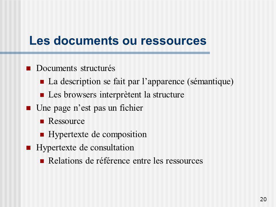 20 Les documents ou ressources Documents structurés La description se fait par lapparence (sémantique) Les browsers interprètent la structure Une page