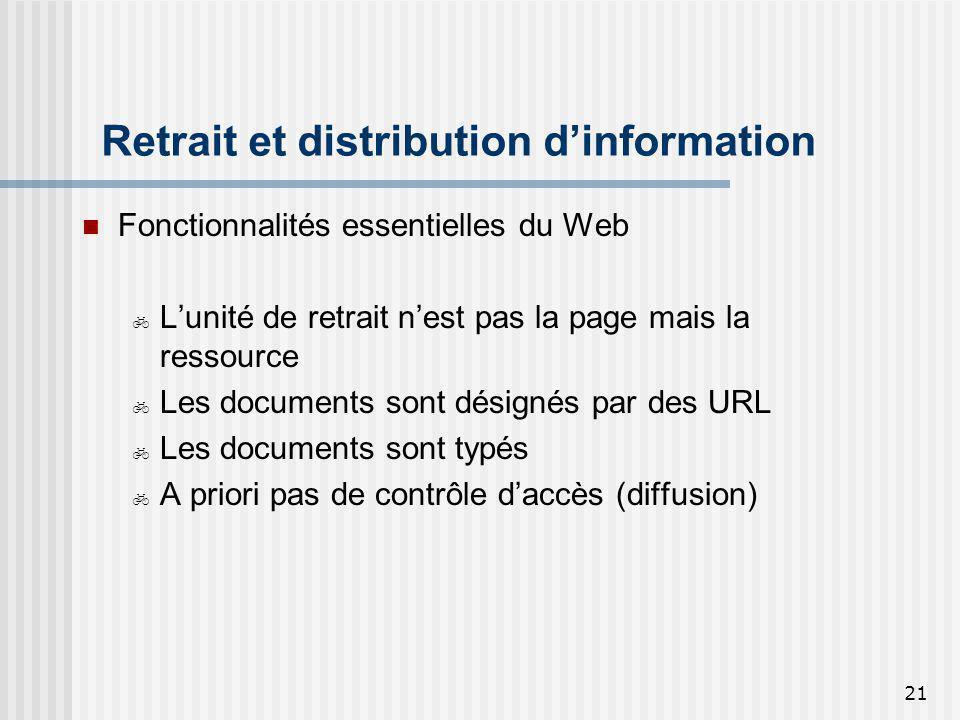 21 Retrait et distribution dinformation Fonctionnalités essentielles du Web Lunité de retrait nest pas la page mais la ressource Les documents sont dé