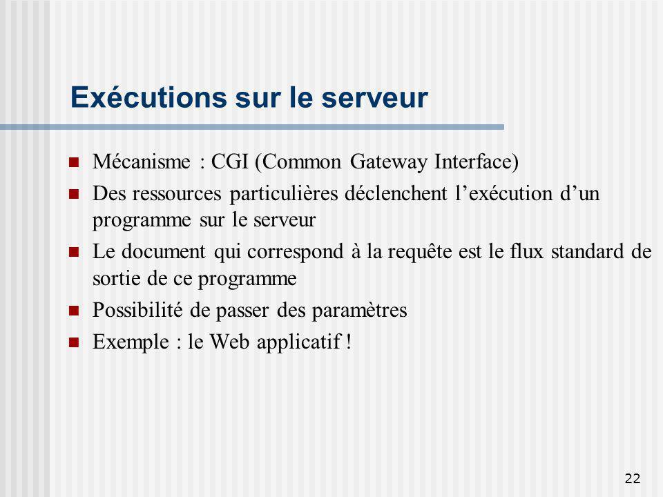 22 Exécutions sur le serveur Mécanisme : CGI (Common Gateway Interface) Des ressources particulières déclenchent lexécution dun programme sur le serve