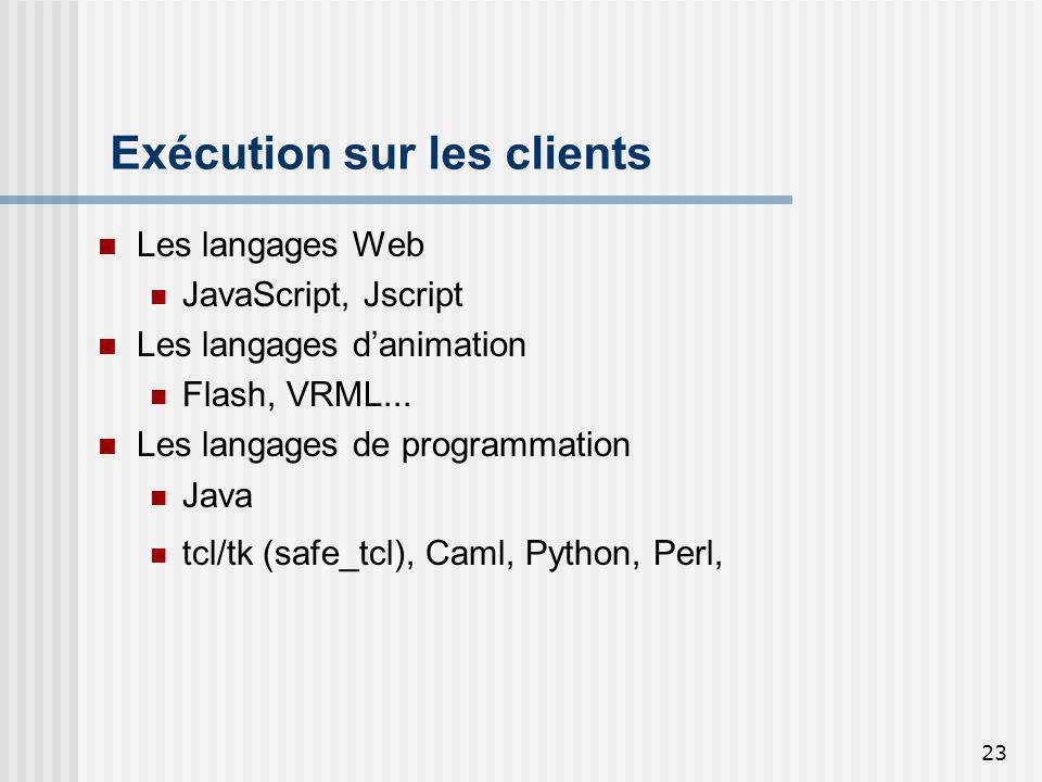 23 Exécution sur les clients Les langages Web JavaScript, Jscript Les langages danimation Flash, VRML...