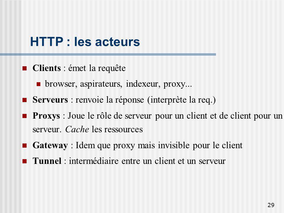 29 HTTP : les acteurs Clients : émet la requête browser, aspirateurs, indexeur, proxy... Serveurs : renvoie la réponse (interprète la req.) Proxys : J