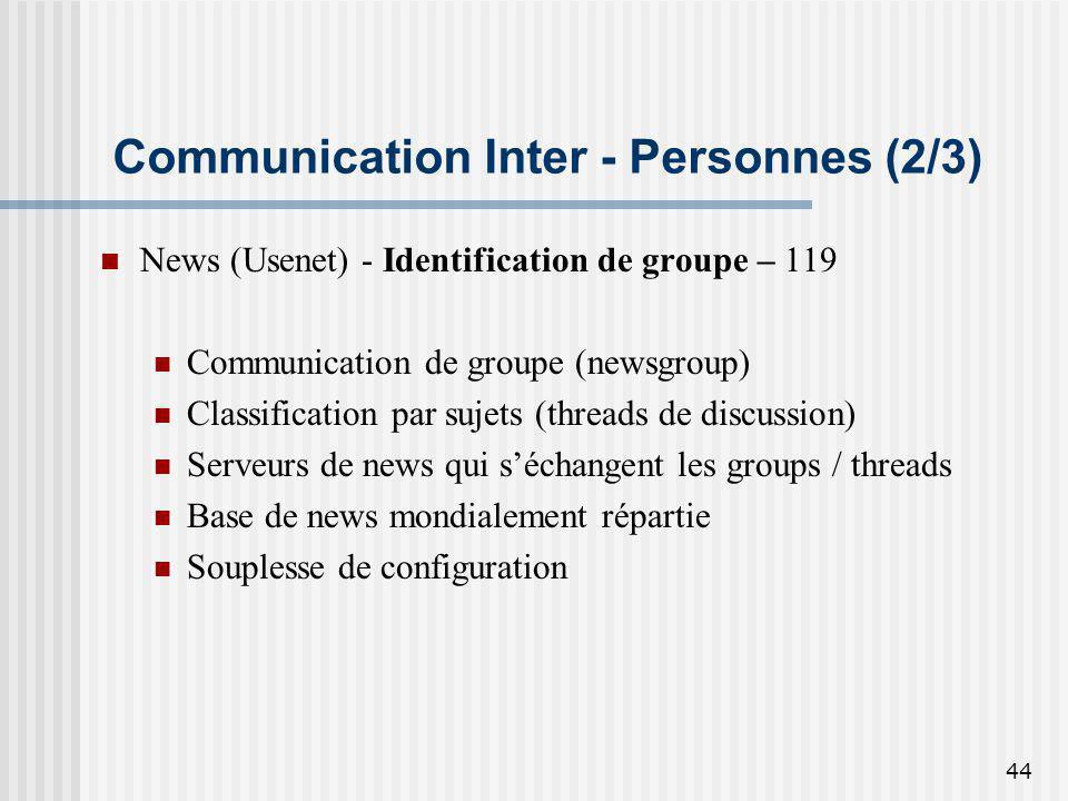 44 Communication Inter - Personnes (2/3) News (Usenet) - Identification de groupe – 119 Communication de groupe (newsgroup) Classification par sujets
