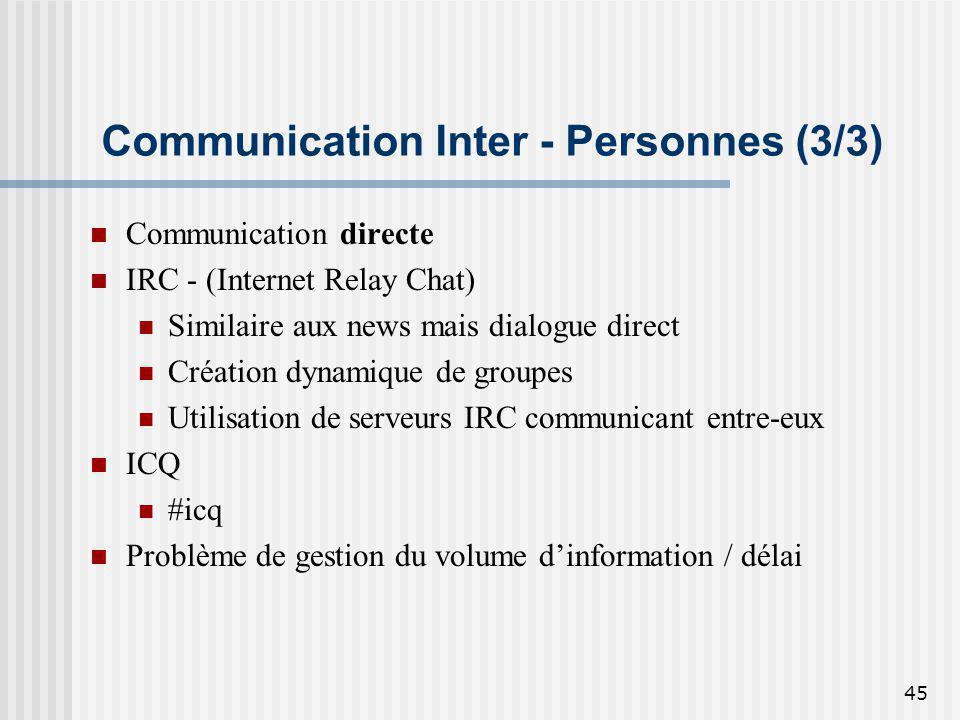 45 Communication Inter - Personnes (3/3) Communication directe IRC - (Internet Relay Chat) Similaire aux news mais dialogue direct Création dynamique