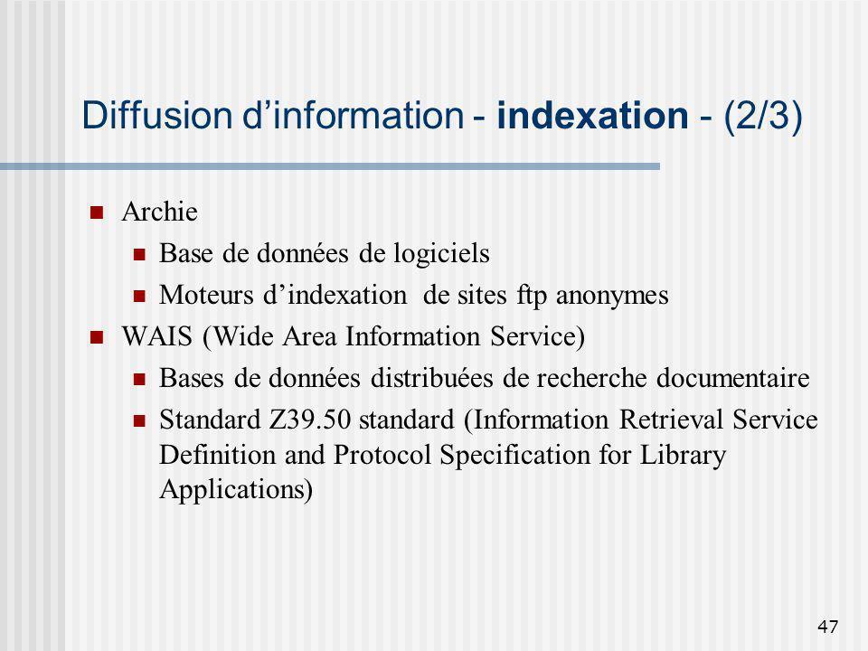 47 Diffusion dinformation - indexation - (2/3) Archie Base de données de logiciels Moteurs dindexation de sites ftp anonymes WAIS (Wide Area Informati