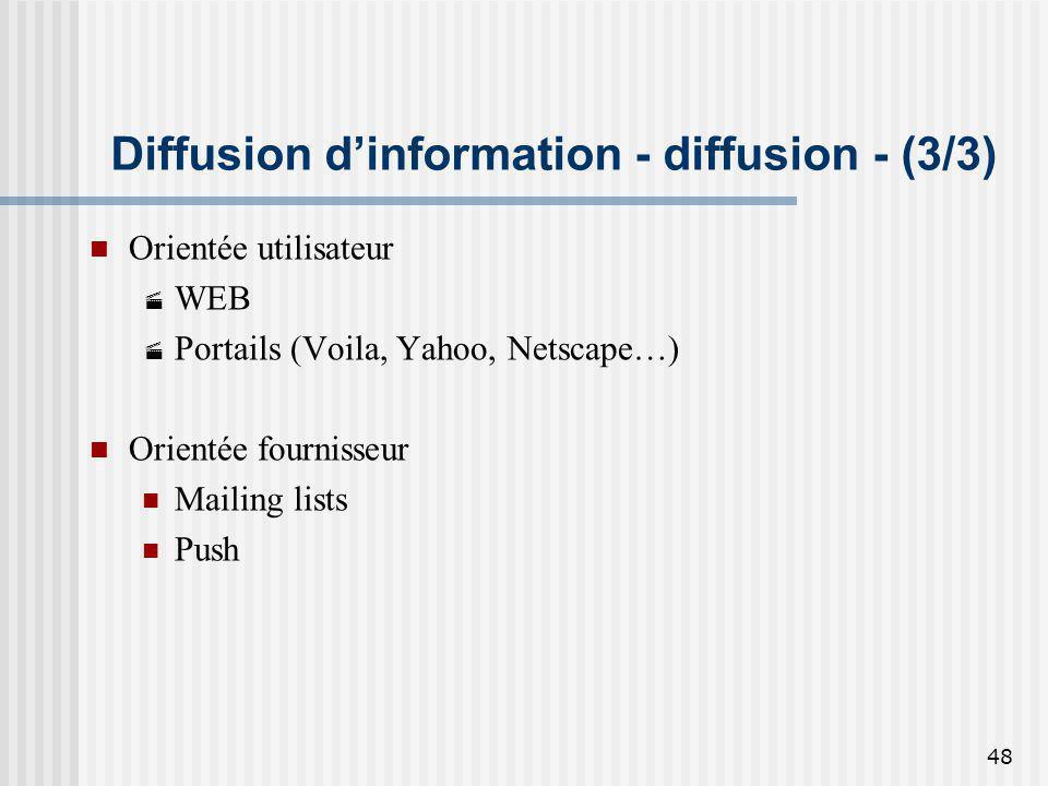 48 Diffusion dinformation - diffusion - (3/3) Orientée utilisateur WEB Portails (Voila, Yahoo, Netscape…) Orientée fournisseur Mailing lists Push