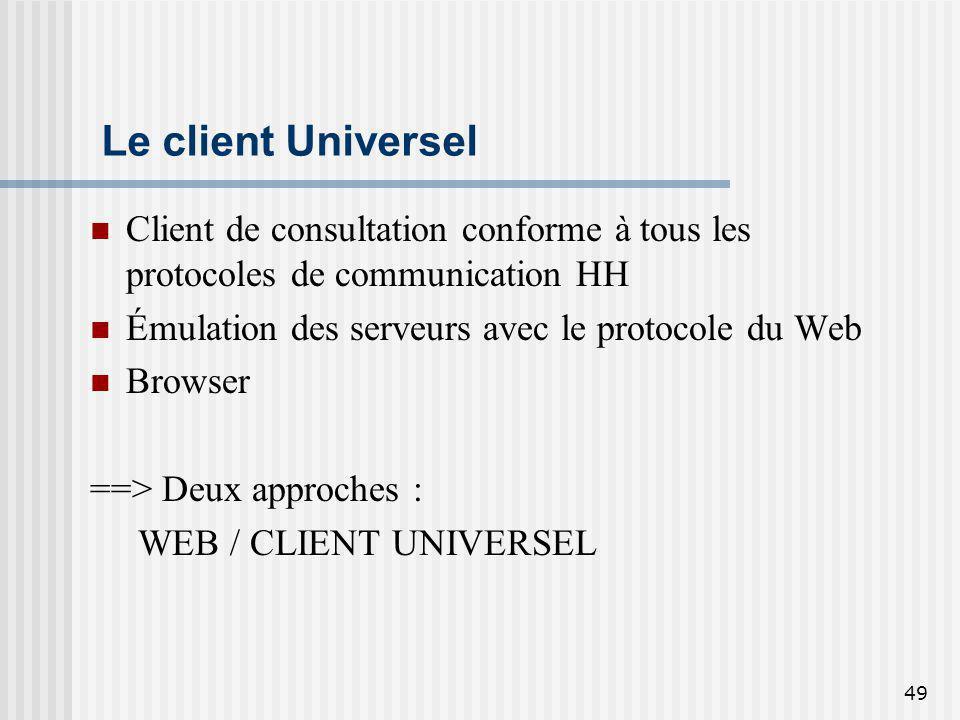 49 Le client Universel Client de consultation conforme à tous les protocoles de communication HH Émulation des serveurs avec le protocole du Web Brows