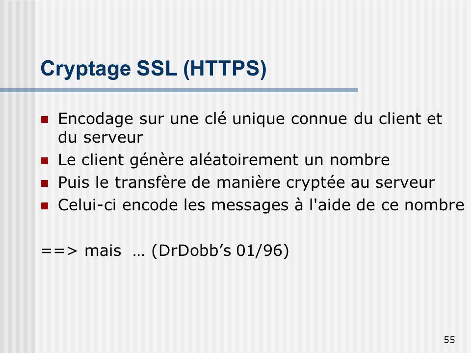 55 Cryptage SSL (HTTPS) Encodage sur une clé unique connue du client et du serveur Le client génère aléatoirement un nombre Puis le transfère de maniè