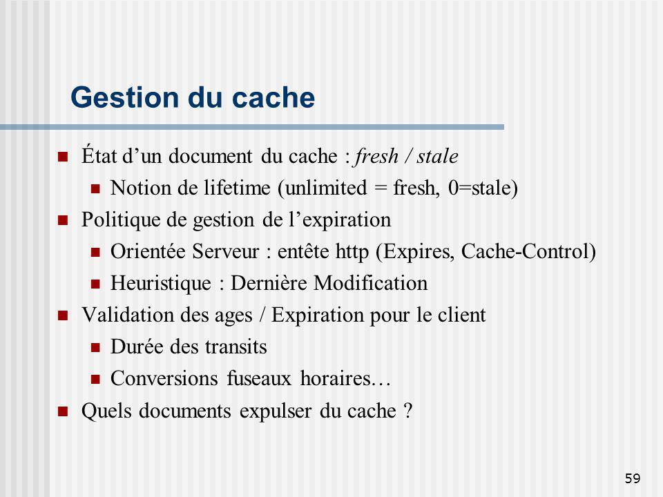 59 Gestion du cache État dun document du cache : fresh / stale Notion de lifetime (unlimited = fresh, 0=stale) Politique de gestion de lexpiration Ori
