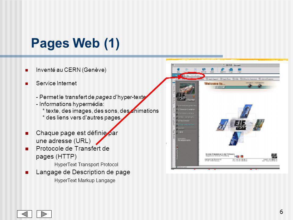 6 Pages Web (1) Inventé au CERN (Genève) Service Internet - Permet le transfert de pages d'hyper-texte - Informations hypermédia: * texte, des images,