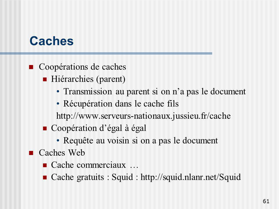 61 Caches Coopérations de caches Hiérarchies (parent) Transmission au parent si on na pas le document Récupération dans le cache fils http://www.serveurs-nationaux.jussieu.fr/cache Coopération dégal à égal Requête au voisin si on a pas le document Caches Web Cache commerciaux … Cache gratuits : Squid : http://squid.nlanr.net/Squid