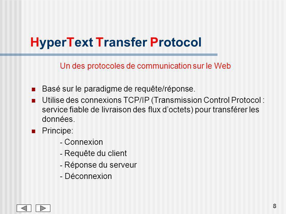 8 HyperText Transfer Protocol Un des protocoles de communication sur le Web Basé sur le paradigme de requête/réponse. Utilise des connexions TCP/IP (T