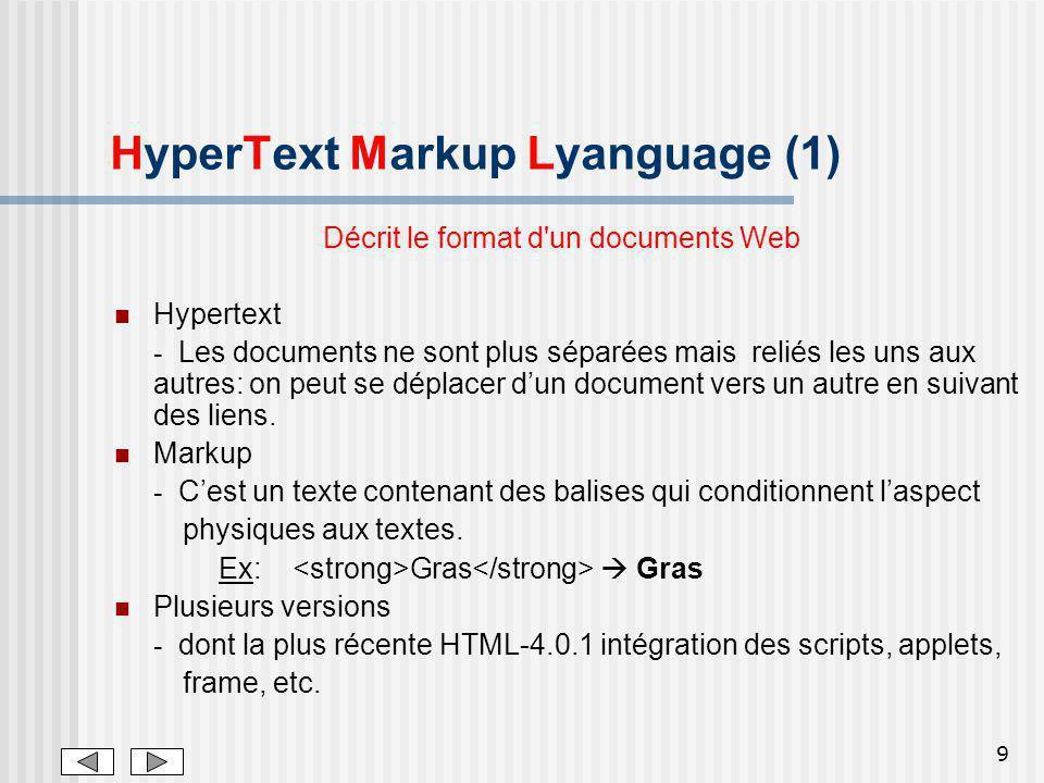 9 HyperText Markup Lyanguage (1) Décrit le format d'un documents Web Hypertext - Les documents ne sont plus séparées mais reliés les uns aux autres: o