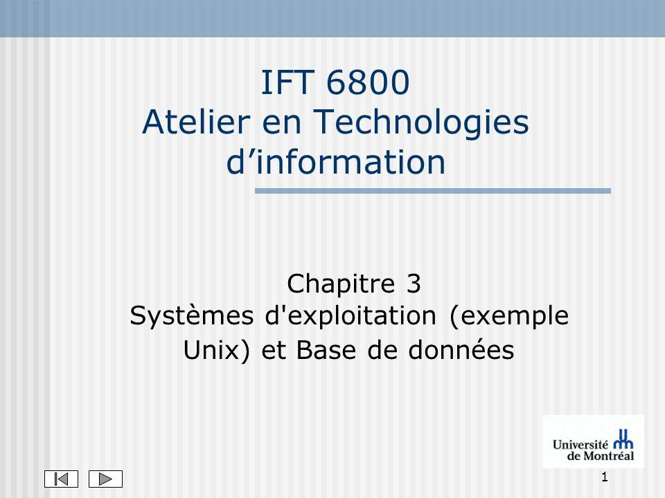 1 IFT 6800 Atelier en Technologies dinformation Chapitre 3 Systèmes d'exploitation (exemple Unix) et Base de données