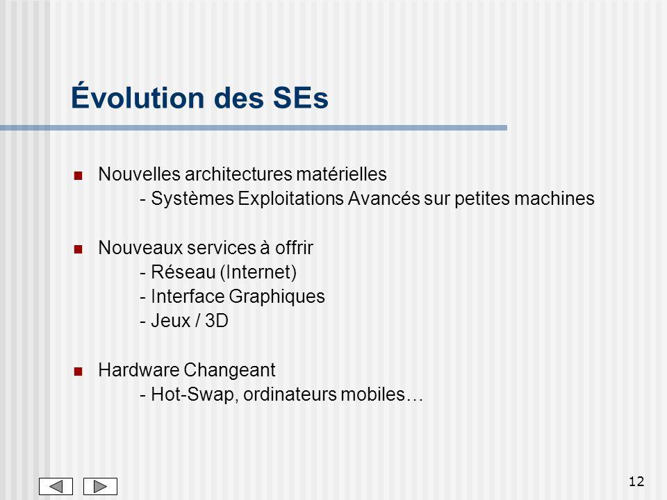 12 Évolution des SEs Nouvelles architectures matérielles - Systèmes Exploitations Avancés sur petites machines Nouveaux services à offrir - Réseau (In
