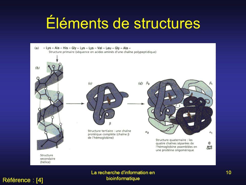 La recherche d'information en bioinformatique 10 Éléments de structures Référence : [4]