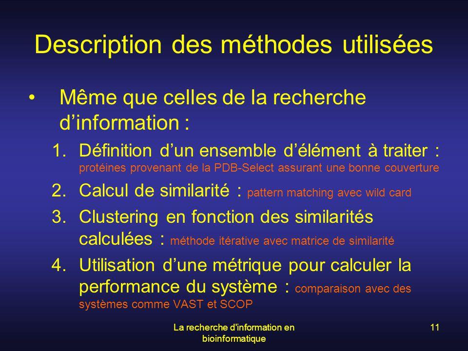 La recherche d'information en bioinformatique 11 Description des méthodes utilisées Même que celles de la recherche dinformation : 1.Définition dun en