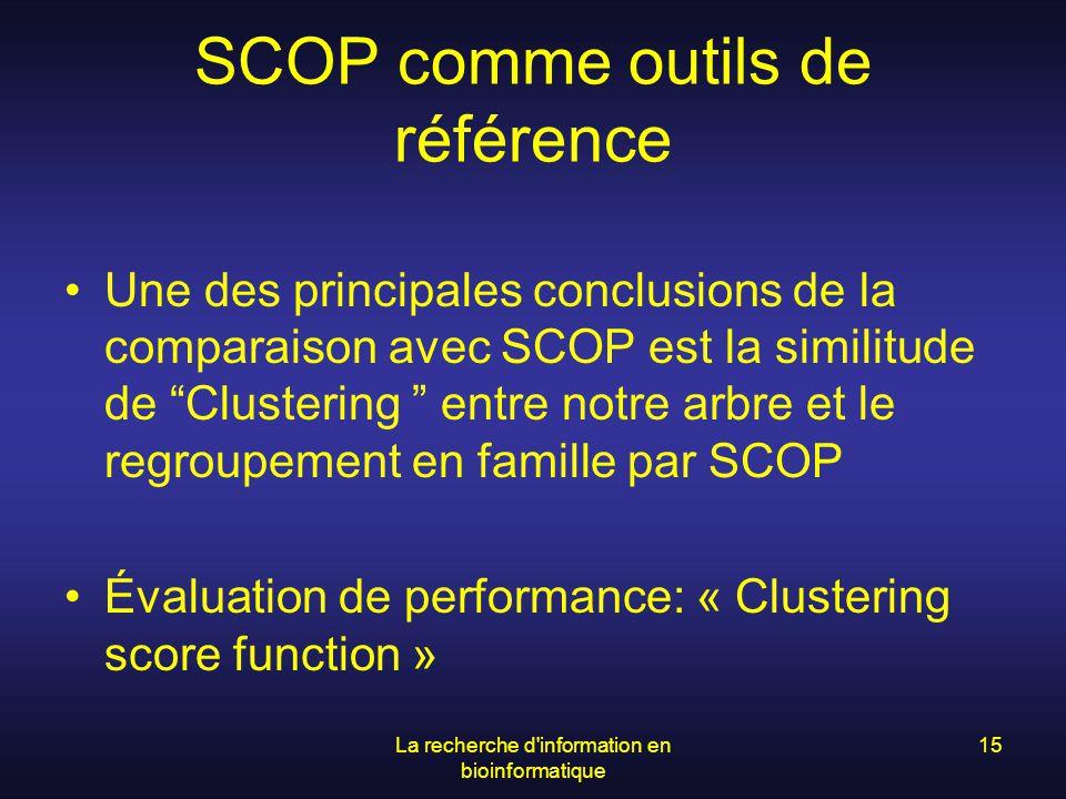 La recherche d'information en bioinformatique 15 SCOP comme outils de référence Une des principales conclusions de la comparaison avec SCOP est la sim