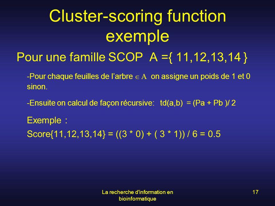La recherche d'information en bioinformatique 17 Cluster-scoring function exemple Pour une famille SCOP A ={ 11,12,13,14 } -Pour chaque feuilles de la