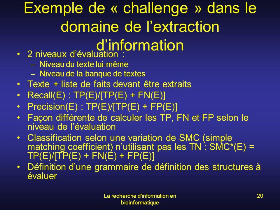 La recherche d'information en bioinformatique 20 Exemple de « challenge » dans le domaine de lextraction dinformation 2 niveaux dévaluation : –Niveau