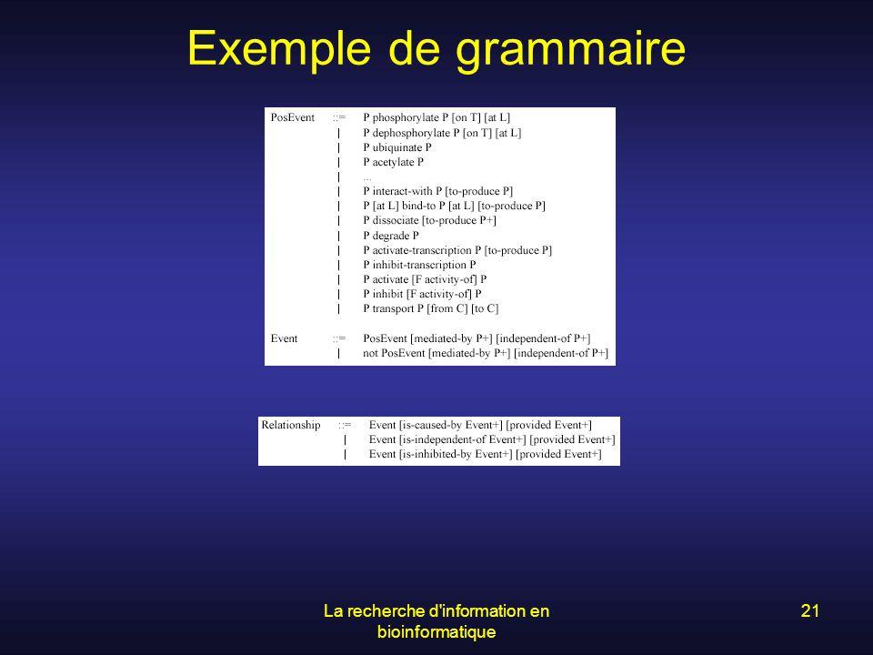 La recherche d'information en bioinformatique 21 Exemple de grammaire