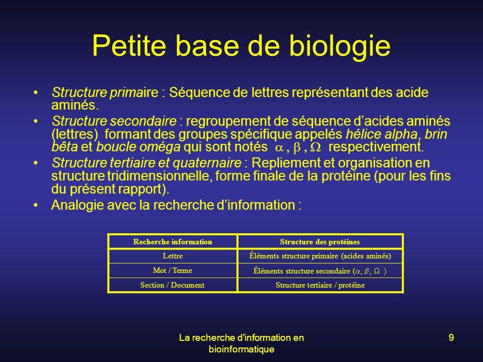 La recherche d information en bioinformatique 20 Exemple de « challenge » dans le domaine de lextraction dinformation 2 niveaux dévaluation : –Niveau du texte lui-même –Niveau de la banque de textes Texte + liste de faits devant être extraits Recall(E) : TP(E)/[TP(E) + FN(E)] Precision(E) : TP(E)/[TP(E) + FP(E)] Façon différente de calculer les TP, FN et FP selon le niveau de lévaluation Classification selon une variation de SMC (simple matching coefficient) nutilisant pas les TN : SMC*(E) = TP(E)/[TP(E) + FN(E) + FP(E)] Définition dune grammaire de définition des structures à évaluer