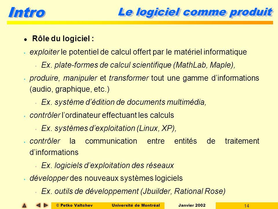 © Petko ValtchevUniversité de Montréal Janvier 2002 14 Intro Le logiciel comme produit Rôle du logiciel : exploiter le potentiel de calcul offert par le matériel informatique Ex.