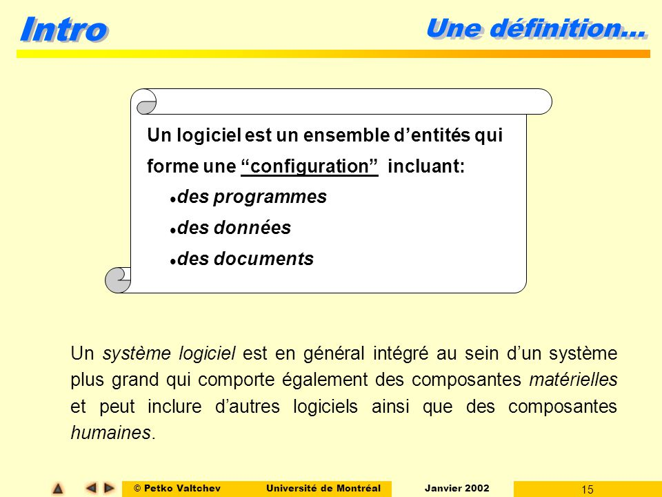© Petko ValtchevUniversité de Montréal Janvier 2002 15 Intro Une définition… Un logiciel est un ensemble dentités qui forme une configuration incluant