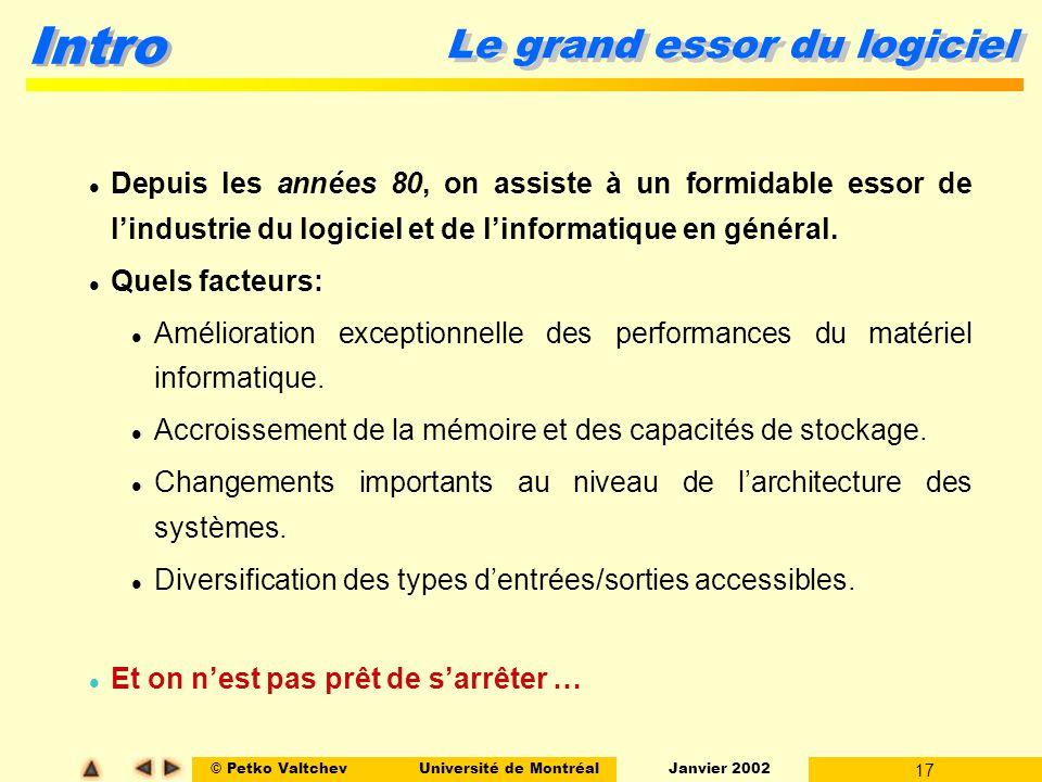 © Petko ValtchevUniversité de Montréal Janvier 2002 17 Intro Le grand essor du logiciel Depuis les années 80, on assiste à un formidable essor de lind