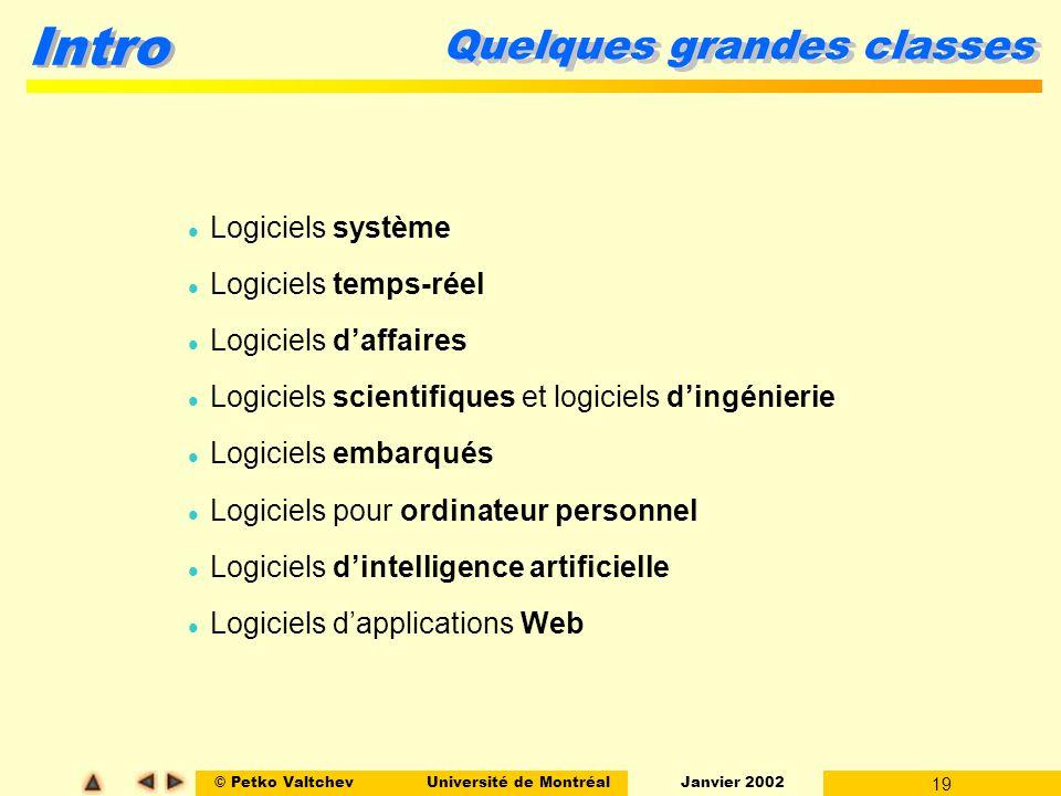 © Petko ValtchevUniversité de Montréal Janvier 2002 19 Intro Quelques grandes classes Logiciels système Logiciels temps-réel Logiciels daffaires Logic