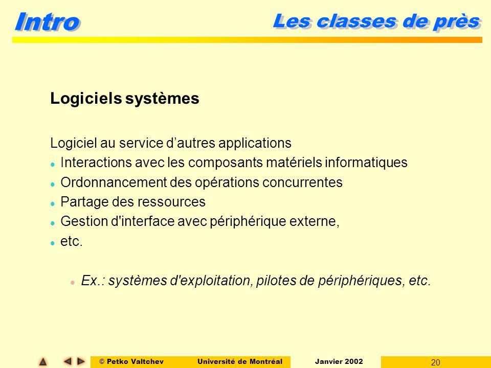 © Petko ValtchevUniversité de Montréal Janvier 2002 20 Intro Les classes de près Logiciels systèmes Logiciel au service dautres applications l Interac