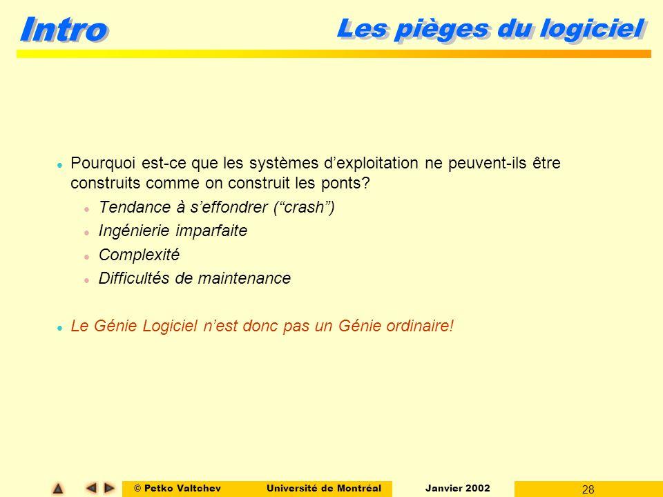 © Petko ValtchevUniversité de Montréal Janvier 2002 28 Intro Les pièges du logiciel l Pourquoi est-ce que les systèmes dexploitation ne peuvent-ils être construits comme on construit les ponts.