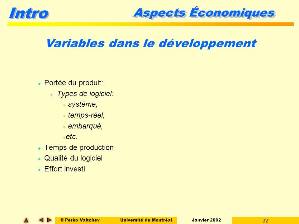 © Petko ValtchevUniversité de Montréal Janvier 2002 32 Intro Aspects Économiques l Portée du produit: l Types de logiciel: l système, l temps-réel, l embarqué, l etc.