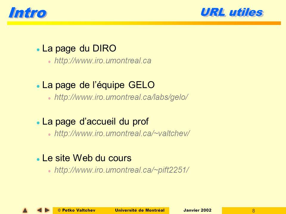 © Petko ValtchevUniversité de Montréal Janvier 2002 9 Intro Lévaluation Travaux pratiques440% Examen interne130% Examen final130% -------------------------------------------- Total100% l Seuil aux examens de 40% l TP : soumissions électroniques – OK l Seuls les documents PostScript/PDF admis l Faire attention aux attachements