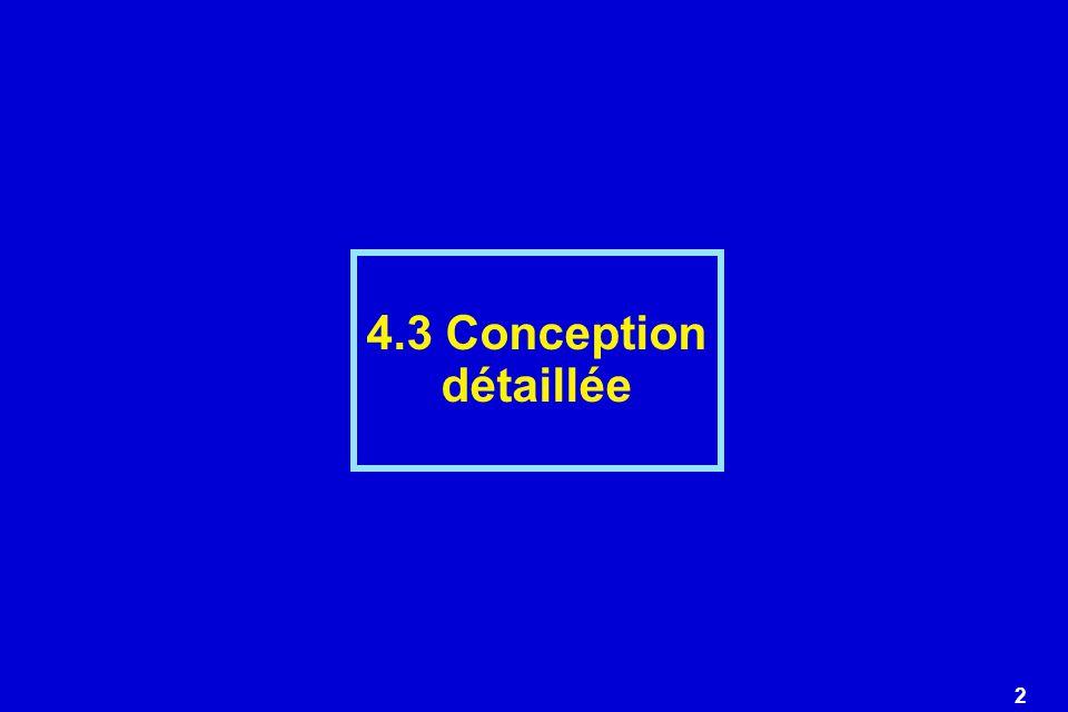 13 Conception détaillée Notation textuelle - pseudocode Caractéristiques dune notation textuelle de conception 1)Mots clefs avec syntaxe précise pour décrire: - les constructions structurées: séquence, condition, répétition, structure de bloc - la déclaration des types et des données (simples ou complexes) - les caractéristiques des modules: entête et définition dinterface - entrées/sortie 2) Syntaxe libre en langue naturelle pour décrire certains aspects de traitement.