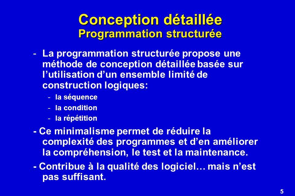 6 Conception détaillée Programmation structurée - Organigrammes La programmation structurée sexprime généralement en utilisant une notation graphique (flowchart, organigramme).