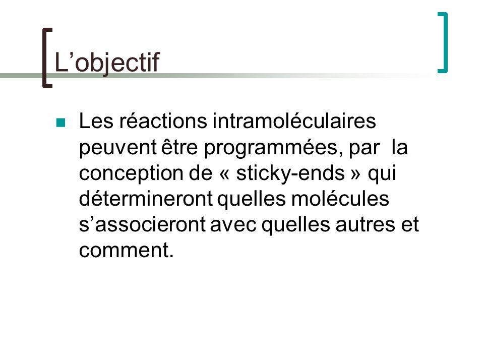 Lobjectif Les réactions intramoléculaires peuvent être programmées, par la conception de « sticky-ends » qui détermineront quelles molécules sassocieront avec quelles autres et comment.