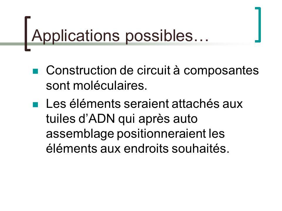 Applications possibles… Construction de circuit à composantes sont moléculaires. Les éléments seraient attachés aux tuiles dADN qui après auto assembl