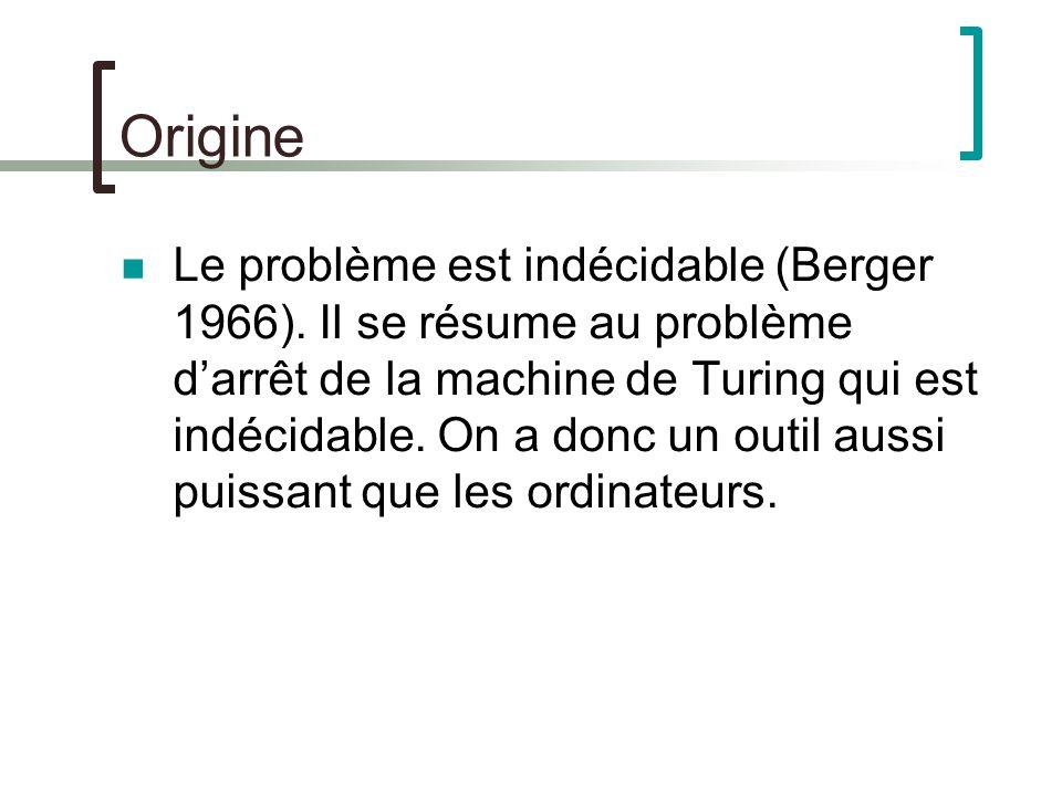 Origine Le problème est indécidable (Berger 1966).