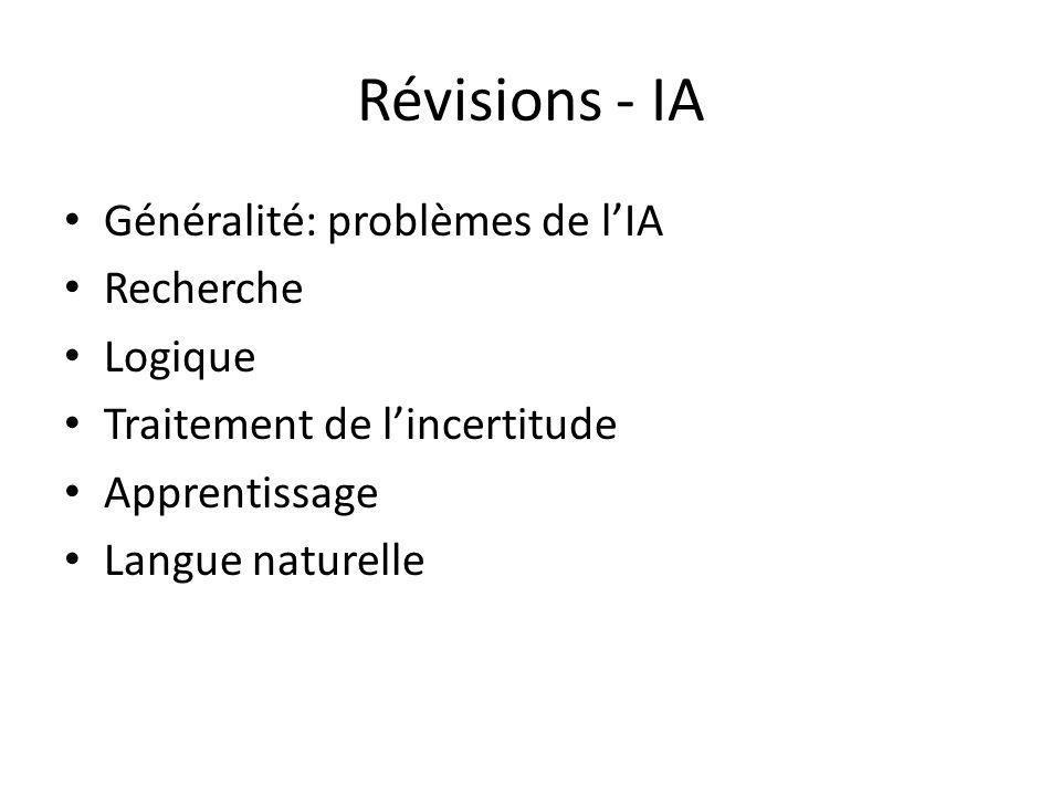 Révisions - IA Généralité: problèmes de lIA Recherche Logique Traitement de lincertitude Apprentissage Langue naturelle