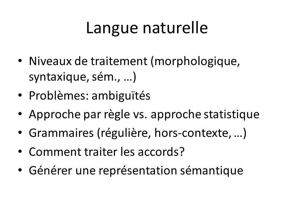 Langue naturelle Niveaux de traitement (morphologique, syntaxique, sém., …) Problèmes: ambiguïtés Approche par règle vs.