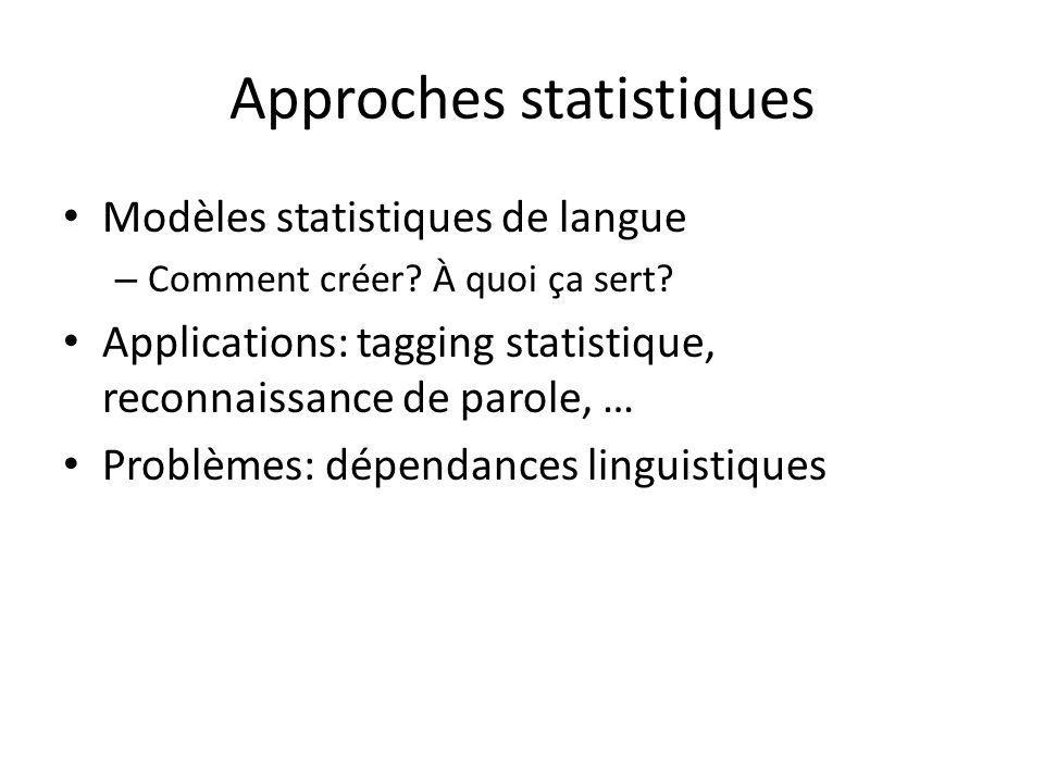 Approches statistiques Modèles statistiques de langue – Comment créer.
