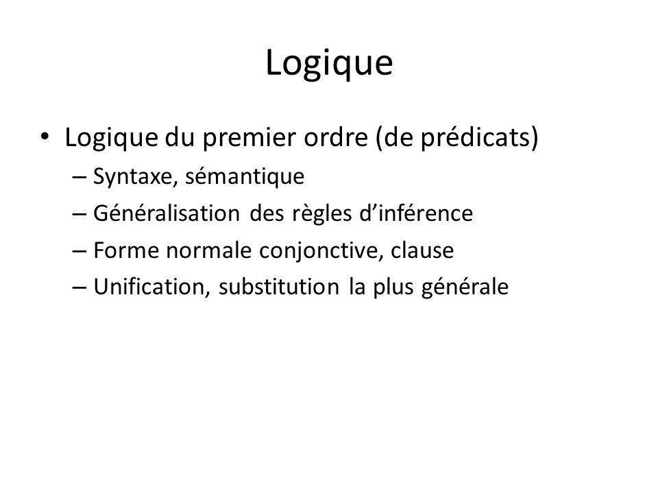 Logique Logique du premier ordre (de prédicats) – Syntaxe, sémantique – Généralisation des règles dinférence – Forme normale conjonctive, clause – Unification, substitution la plus générale