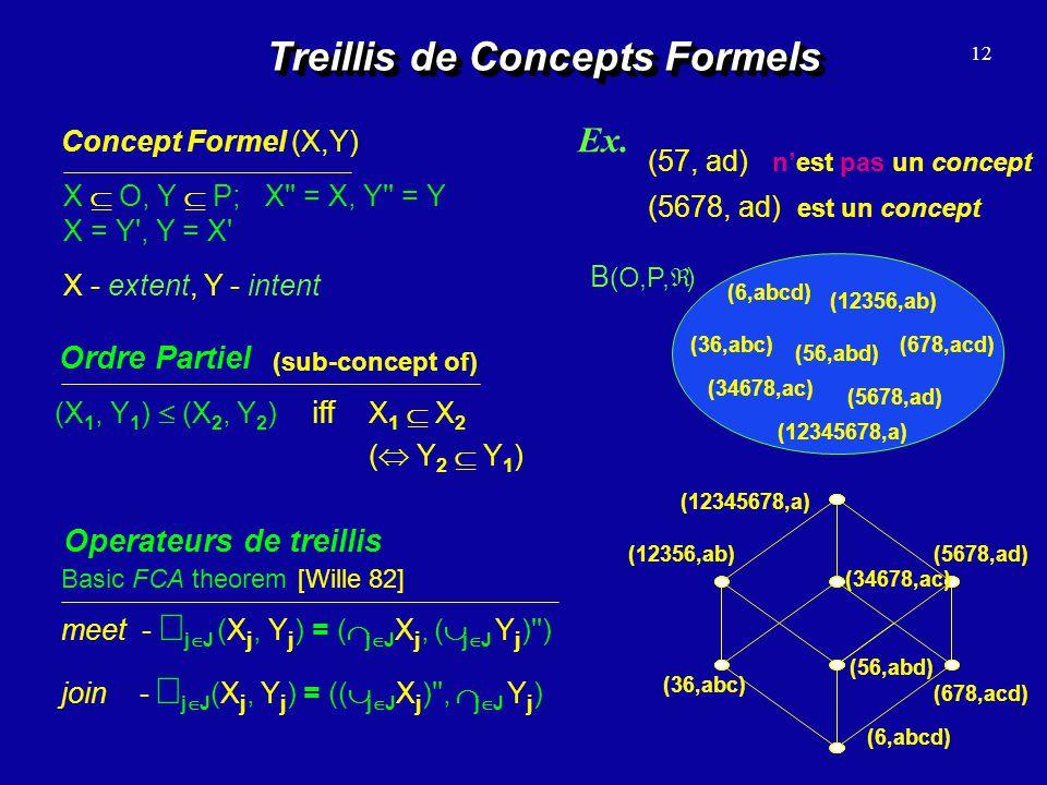Treillis de Concepts Formels 12 Concept Formel (X,Y) X O, Y P; X'' = X, Y'' = Y X = Y', Y = X' Ordre Partiel (X 1, Y 1 ) (X 2, Y 2 ) iff X 1 X 2 ( Y 2