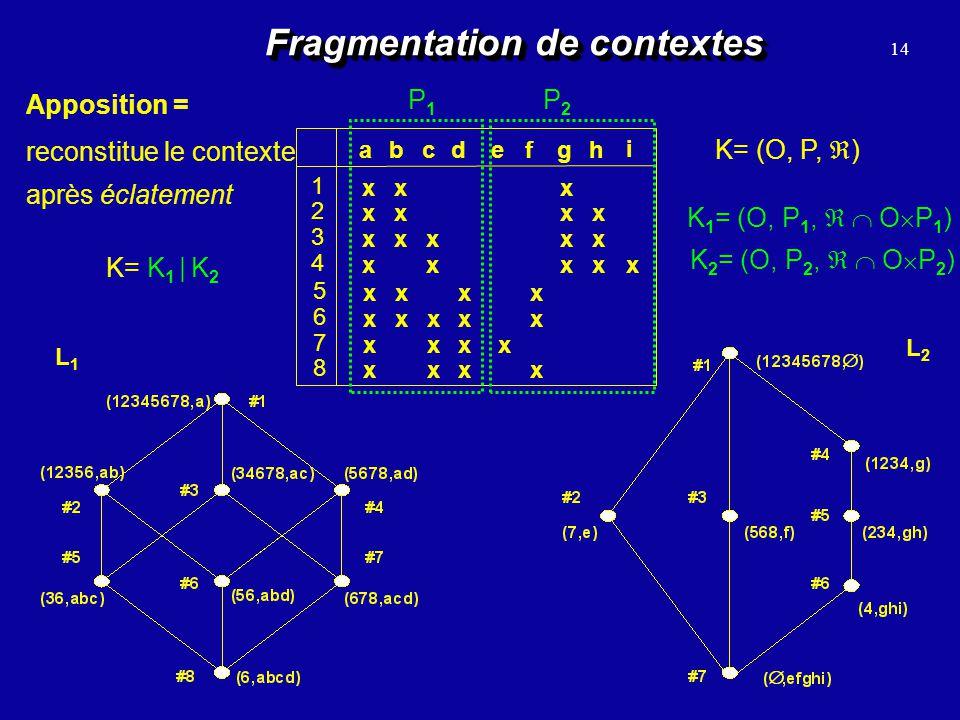 14 Fragmentation de contextes Apposition = reconstitue le contexte après éclatement abc 1 2 3 4 defgh 5 6 7 8 i x x x x x x x x x x x x x x x x x x x