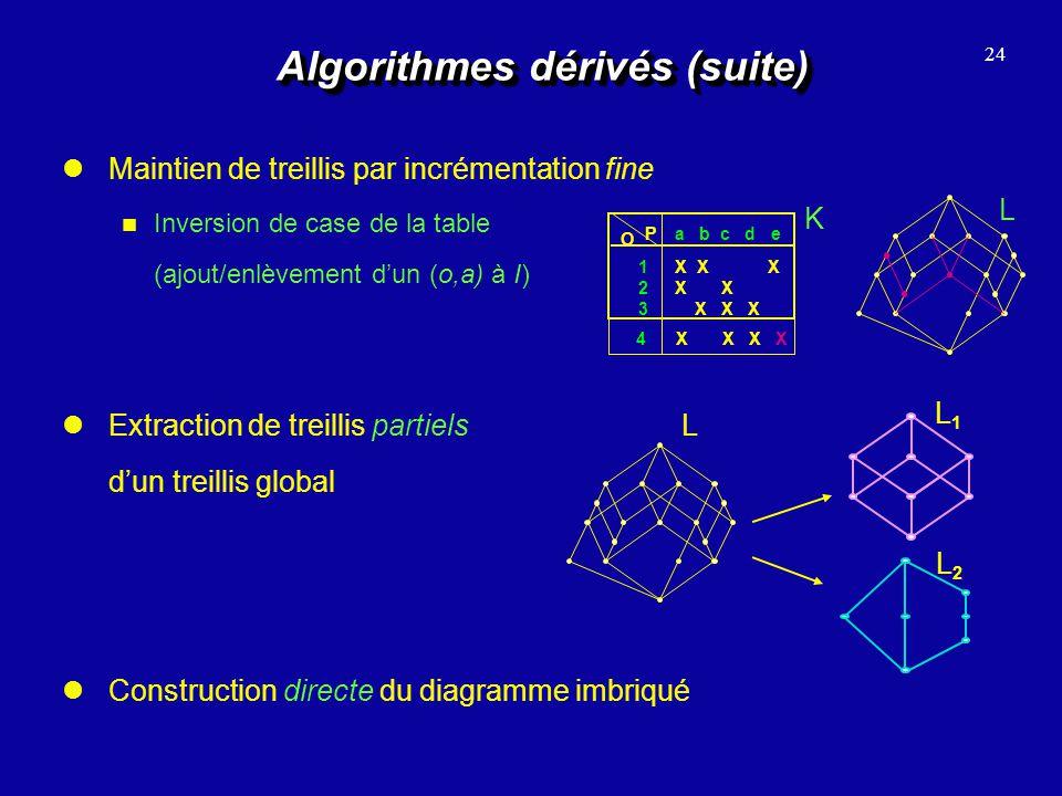 Algorithmes dérivés (suite) Maintien de treillis par incrémentation fine Inversion de case de la table (ajout/enlèvement dun (o,a) à I) 24 Constructio